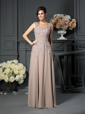 A-Line Scoop Beading Floor-Length Silk like Satin Mother of the Groom Dress