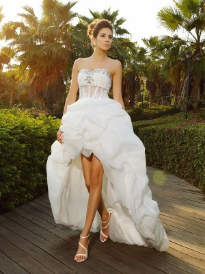 A-Line Sweetheart Asymmetrical Beading Organza Bridal Gown