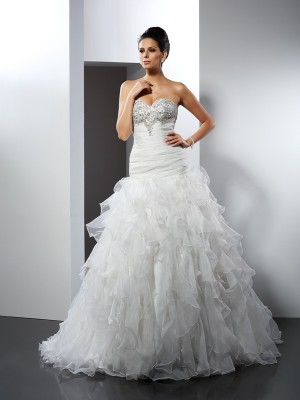 Ball Gown Sweetheart Ruffles Court Train Tulle Bridal Dresses