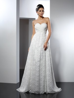 A-Line Sweetheart Sweep/Brush Train Satin Dresses For Brides