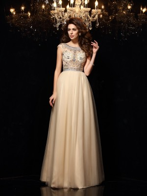 A-Line Scoop Net Beading Floor-Length Party Dresses