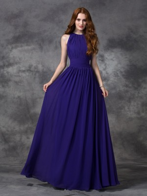 Princess Jewel Ruched Floor-length Chiffon Dress For Bridesmaids