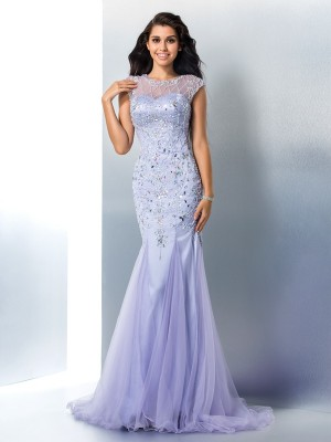 Trumpet Sheer Neck Beading Satin Sweep/Brush Train Perfect Gown