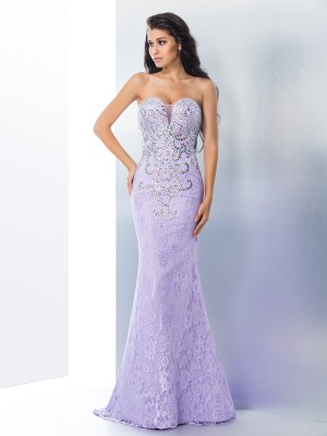 Trumpet Sweetheart Beading Lace Sweep/Brush Train Perfect Gown