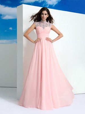 Princess Sheer Neck Beading Floor-Length Chiffon Affordable Gowns