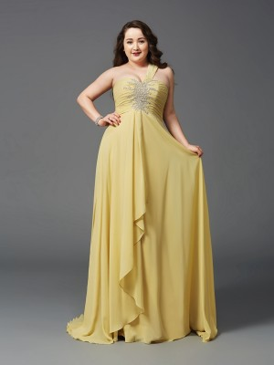 Princess One-Shoulder Rhinestone Sweep/Brush Train Chiffon Outsize Cheap Dress
