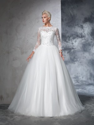 Ball Gown Long Sleeves Bateau Net Lace Sweep/Brush Train Bride Gown