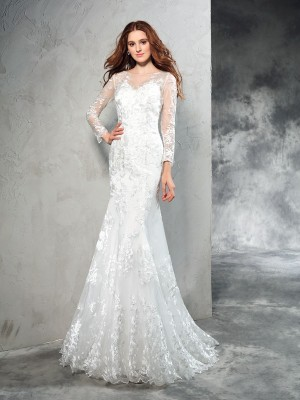 Sheath Sheer Neck Long Sleeves Lace Sweep/Brush Train Net Bride Gown