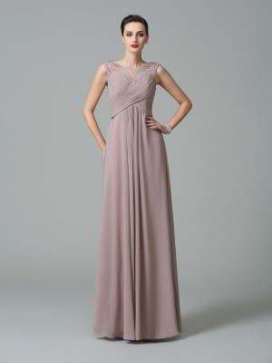 Princess Scoop Ruched Floor-Length Chiffon Bridesmaid Gown