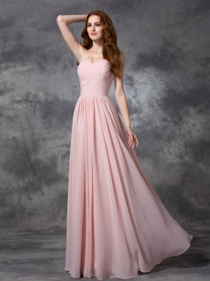 Princess Sweetheart Ruched Floor-length Chiffon Dress For Bridesmaids