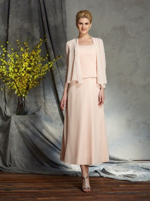 Princess Straps Chiffon Tea-Length Mother Of The Groom Outfits