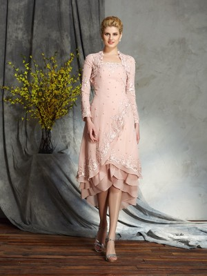 Princess Strapless Applique leeveless Knee-Length Chiffon Mother Of The Groom Outfits