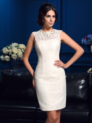 Sheath Jewel Short Lace Mother Of The Bride Gown