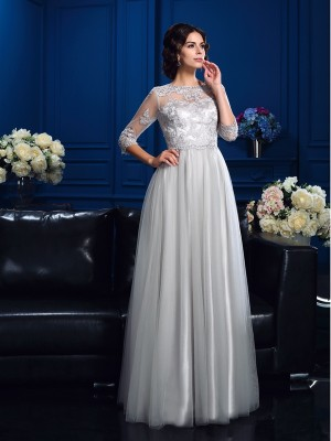 Princess Scoop 3/4 Sleeves Floor-Length Elastic Woven Satin Mother Of The Bride Gown