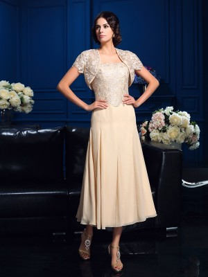Princess Square Knee-Length Chiffon Mother Of The Bride Gown