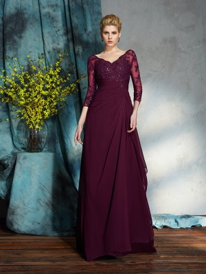 Princess 3/4 Sleeves V-neck Floor-Length Chiffon Mother Of The Bride Gowns
