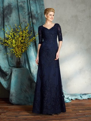 Sheath 1/2 Sleeves V-neck Applique Satin Floor-Length Mother Of The Bride Gowns