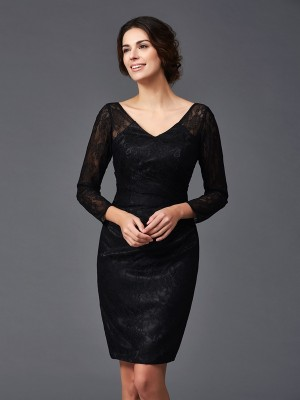 Sheath Lace Long Sleeves V-neck Knee-Length Elastic Woven Satin Mother Of The Bride Outfits