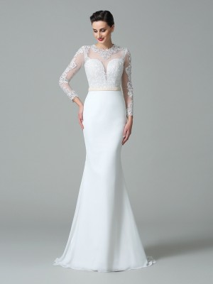 Trumpet Jewel Long Sleeves Lace Sweep/Brush Train Satin Bride Gown