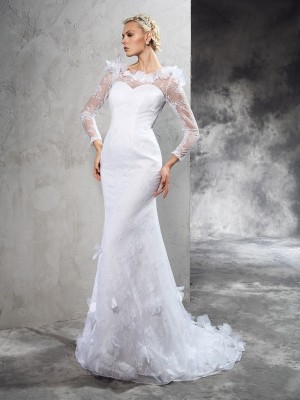Sheath Sheer Neck Long Sleeves Hand-Made Flower Court Train Satin Bridal Gowns