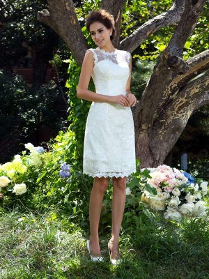 Princess Sheer Neck Satin Knee-Length Applique Bridal Dress