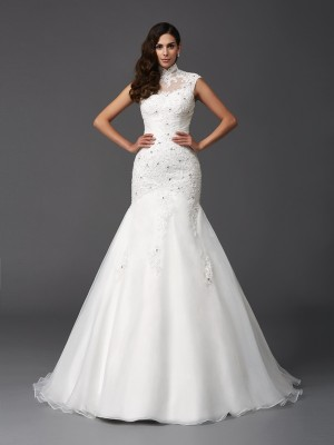 Trumpet High Neck Beading Sweep/Brush Train Organza Bride Gown