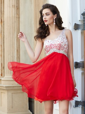 A-line One-Shoulder Beading Sleeveless Chiffon Short/Mini Homecoming Gown