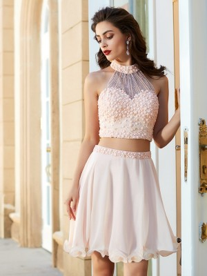 A-line Halter Beading Sleeveless Chiffon Short/Mini Two Piece Homecoming Gown