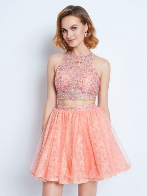 A-line Jewel Sleeveless Lace Beading Short/Mini Two Piece Homecoming Gown