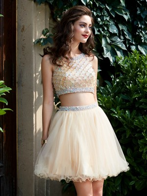 A-line Scoop Net Sleeveless Beading Short/Mini Two Piece Homecoming Dresses