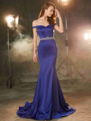 Mermaid Off-the-Shoulder Sleeveless Crystal Sweep/Brush Train Satin Evening Gown