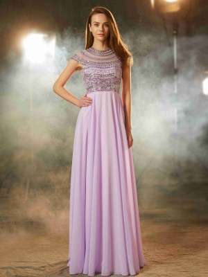 A-Line/Princess Scoop Short Sleeves Floor-Length Beading Chiffon Evening Gown