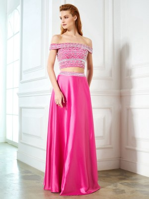 A-Line Off-the-Shoulder Beading Sleeveless Satin Floor-Length Two Piece Formal Wear