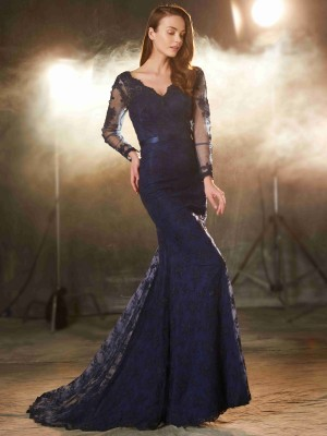 Mermaid V-neck Long Sleeves Applique Sweep/Brush Train Lace Formal Wear