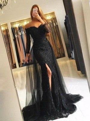 Trumpet/Mermaid Long Sleeves Sweep/Brush Train Off-the-Shoulder Tulle Lace Dresses