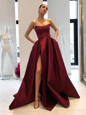 Ball Gown Sleeveless Strapless Ruffles Sweep/Brush Train Satin Dresses