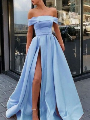 A-Line/Princess Sleeveless Off-the-Shoulder Ruffles Sweep/Brush Train Satin Dress
