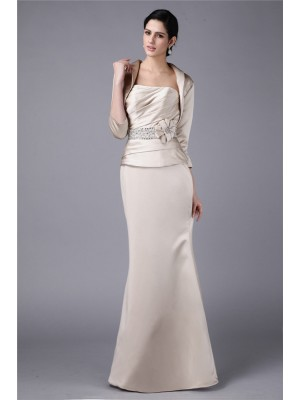 Sheath/Column Strapless Elastic Woven Satin Mother of the Bride Dress