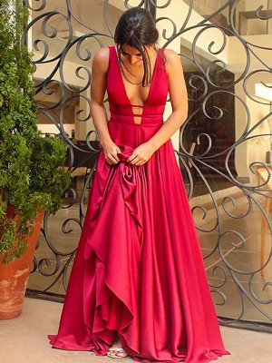 A-Line/Princess V-Neck Sleeveless Sweep/Brush Train Ruffles Satin Prom Gowns