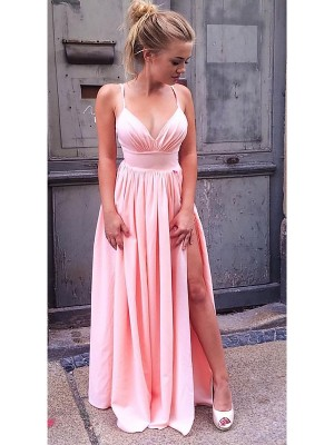 A-Line/Princess Sleeveless Straps Floor-Length Ruched Chiffon Prom Gowns