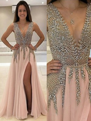 A-Line/Princess V-Neck Sleeveless Sweep/Brush Train Beading Tulle Prom Gowns