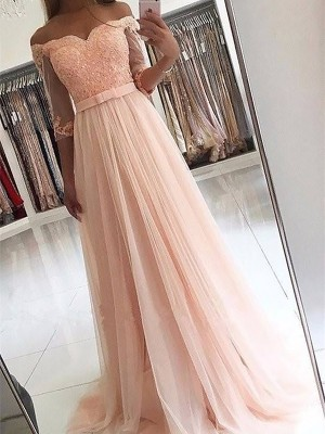 A-Line/Princess 3/4 Sleeves Off-the-Shoulder Tulle Sash/Ribbon/Belt Sweep/Brush Train Prom Gowns