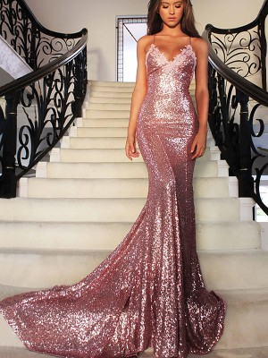 Trumpet/Mermaid V-neck Sweep/Brush Train Sleeveless Sequins Ruffles Gowns