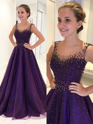 A-Line/Princess Scoop Floor-Length Tulle Beading Dress