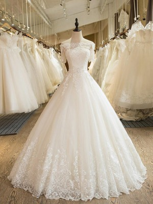 Ball Gown 1/2 Sleeves Floor-Length Off-the-Shoulder Applique Lace Tulle Wedding Dresses