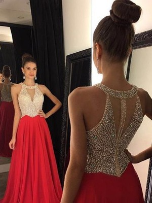 Princess Halter Beading Sweep/Brush Train Chiffon Prom Gown