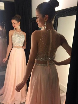 Princess Scoop Beading Sweep/Brush Train Chiffon Prom Gown
