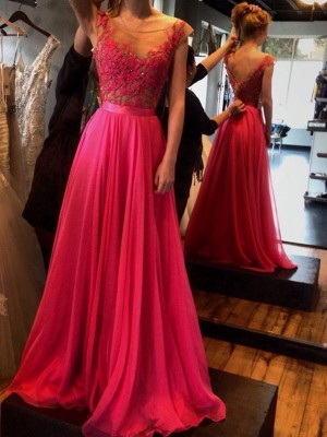 Princess Scoop Sweep/Brush Train Applique Chiffon Prom Gown