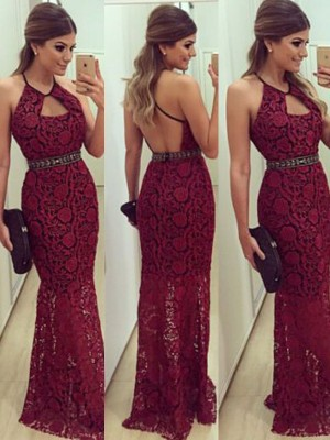 Column Beading Floor-Length Halter Lace Prom Gown