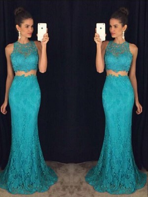 Column Scoop Floor-Length Lace Prom Gown